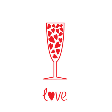Champagne glass with hearts inside. Vector illustration.  Card Vector