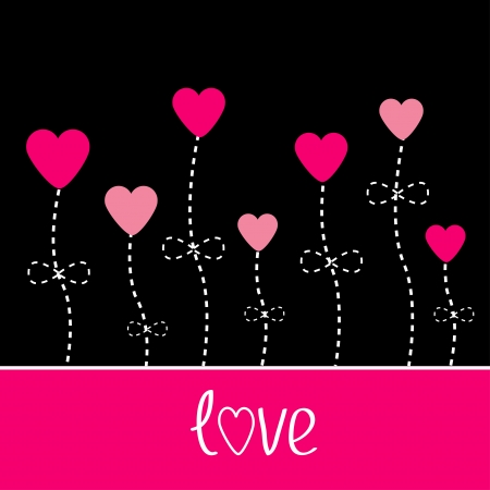 Vector love card. Heart flowers. Black and pink. Illustration Vector