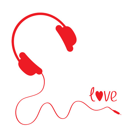 Red headphones with cord . White background.  Love card. Vector illustration. Vector