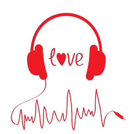 Red headphones with cord  in shape of cardiogram. Isolated. Love card. Vector illustration. Vector