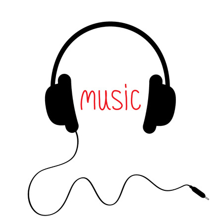 earbud: Auriculares negros con cord�n rojo y la palabra m�sica. Tarjeta. Ilustraci�n del vector.