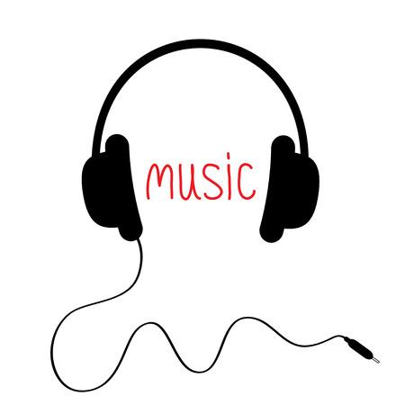 casque audio: Casque noir avec cordon rouge et le mot musique. Card. Vector illustration.