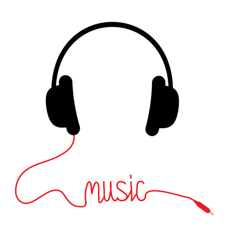 Black headphones with red cord in shape of word Music. Card. Vector illustration. Vector