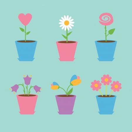 6 鉢の花でのセットです。青色の背景色。カード ベクトル イラスト。  イラスト・ベクター素材