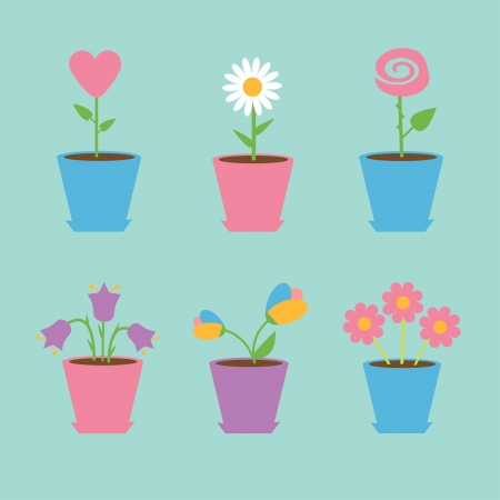 Set of six flowers in pots. Blue background. Card. Vector illustration.  Vector