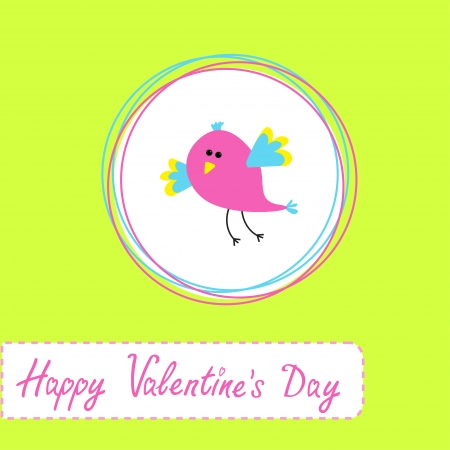 Happy Valentines Day card  with cute bird. Vector illustration Illustration