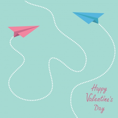 Pink and blue origami paper planes. Dash heart in the sky. Happy Valentines Day card.  Vector illustration. Vector