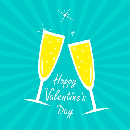 Champagne glasses. Sunburst . Happy Valentines Day card. Vector illustration.   Vector