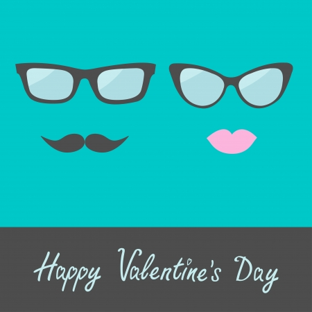 Glasses with lips and moustache. Flat design. Happy Valentines Day card. Vector illustration. Vector