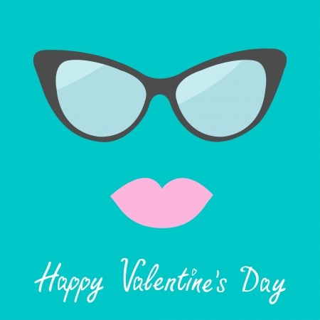 Womens glasses and lips. Flat design. Happy Valentines Day card. Vector illustration. Vector
