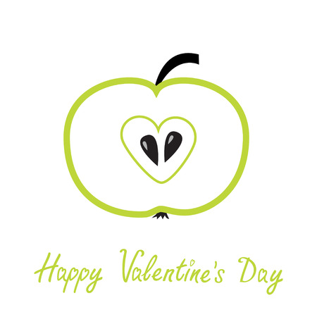 Green  apple with heart shape. Happy Valentines Day card. Vector illustration Vector