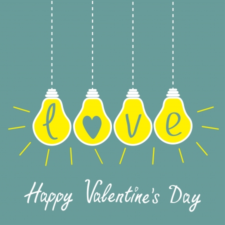 Four hanging yellow light bulbs with word love. Idea concept. Happy Valentines Day card. Vector illustration. Vector