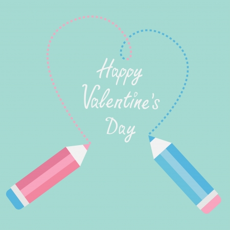 Two pencils drawing big dash heart. Happy Valentines Day card. Vector illustration. Vector