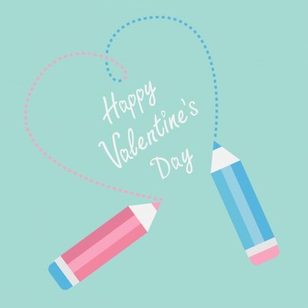 Two pencils drawing dash heart. Happy Valentines Day card. Vector illustration. Vector