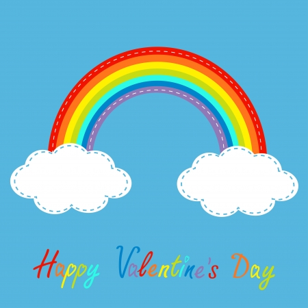 Rainbow and clouds in the sky. Dash line. Happy Valentines Day card. Vector illustration. Vector