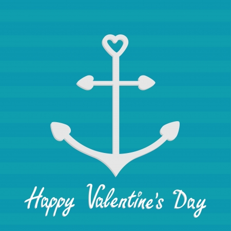 Anchor with shapes of heart. Striped background. Happy Valentines Day card. Vector illustration. Vector