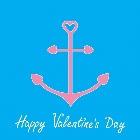 Pink anchor with shapes of heart. Happy Valentines Day card.  Vector illustration.