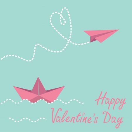 Origami paper boat and paper plane.  Happy Valentines day card.  Vector illustration. Vector