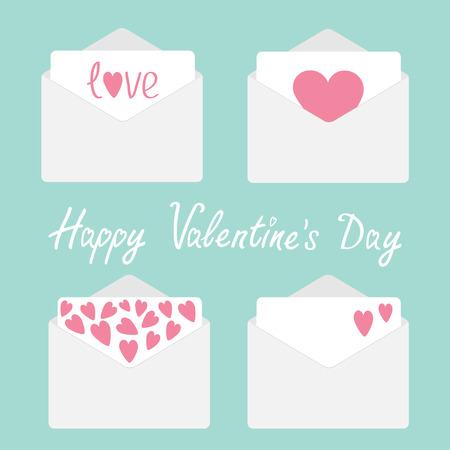 Set of four envelopes with hearts. Happy Valentines day card. Vector illustration. Vector