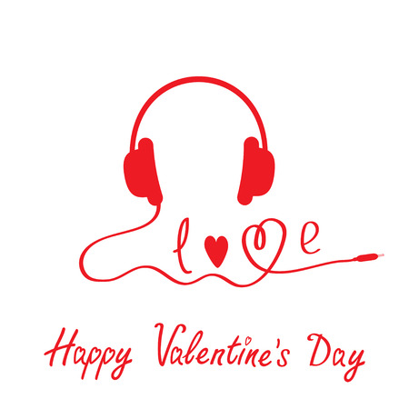Red headphones.  White background. Happy Valentines day card. Vector illustration. Vector