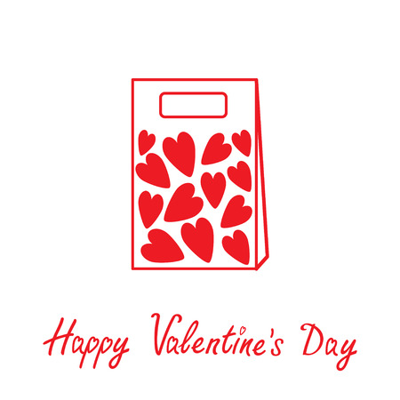 Love paper bag  with hearts inside. Happy Valentines day card. Vector illustration.  Vector