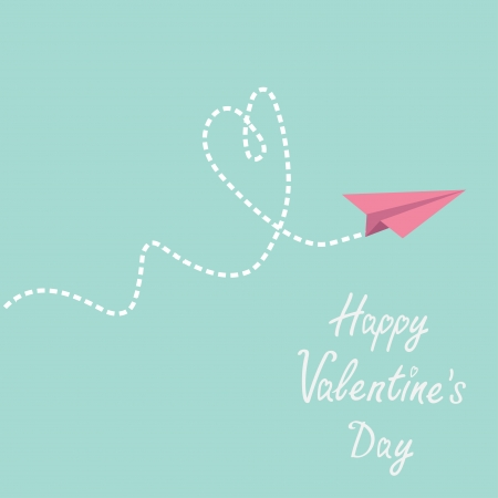 Origami paper plane. Dash heart in the sky. Happy Valentines day card. Vector illustration. Vector