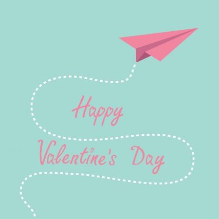 折り紙ピンクの紙飛行機。空の破線。幸せなバレンタインデー。ベクトル イラスト。