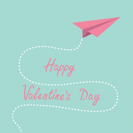 Origami pink paper plane. Dash line in the sky. Happy Valentines day . Vector illustration. Illustration