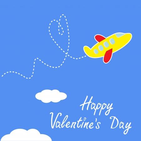 avion caricatura: Plano de la historieta. Dash coraz�n en el cielo. Happy Valentines Day. Ilustraci�n del vector. Vectores