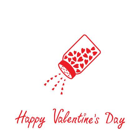 salt shaker: Salt shaker with hearts inside. Happy Valentines day . Vector illustration.