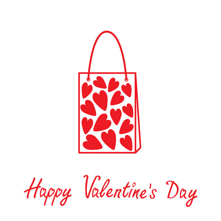 Love shopping bag  with hearts inside. Happy Valentines day . Vector illustration.   Vector