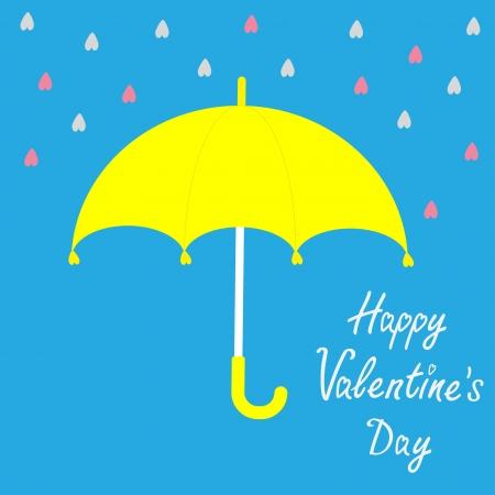 yellow umbrella: Yellow umbrella.  Rain in shape of hearts. Happy Valentines day card. Vector illustration. Illustration