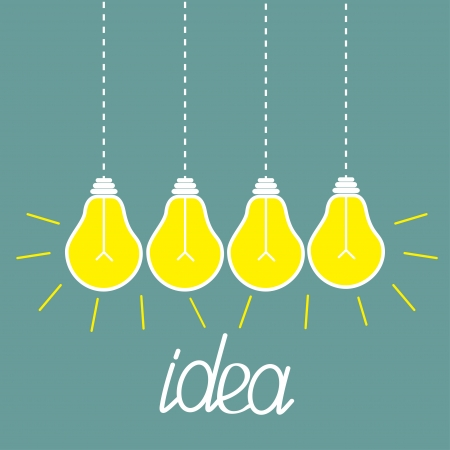 Hanging yellow light bulbs. Idea concept. Vector illustration. Vector
