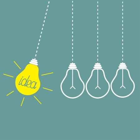 Four hanging yellow light bulbs. Perpetual motion.  Idea concept. Vector illustration. Vector