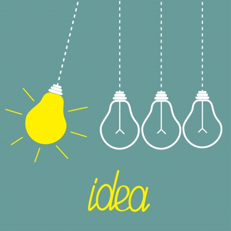 Hanging yellow light bulbs. Perpetual motion.  Idea concept. Vector illustration.