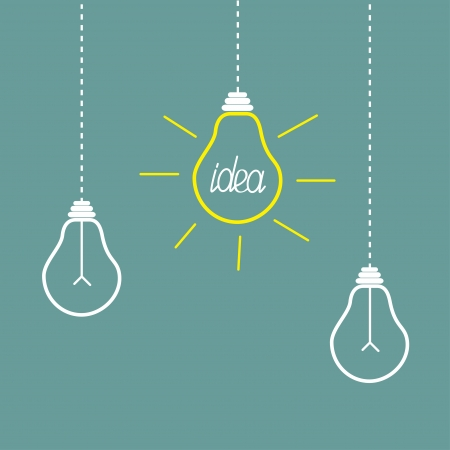 Three hanging yellow light bulbs. Idea concept. Vector illustration.