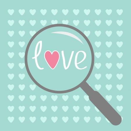 unusual valentine: Magnifier and small hearts. Love card.Vector illustration. Illustration