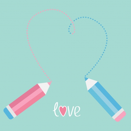 Two pencils drawing big dash heart. Love card. Vector illustration. Vector