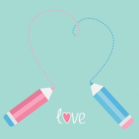Two pencils drawing big dash heart. Love card. Vector illustration. Stock Vector - 25247370