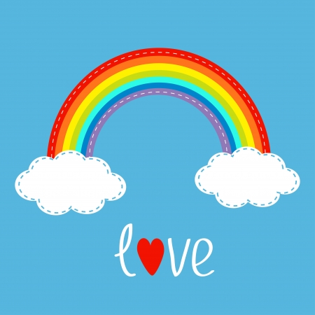 Rainbow and two clouds in the sky. Dash line. Love card. Vector illustration.
