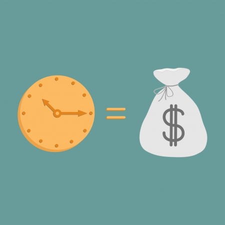 money time: Clock and dollar bag.  Icons. Time is money. Vector illustration.