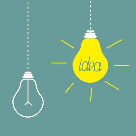 Two hanging yellow light bulbs. Idea concept. Vector illustration. Vector
