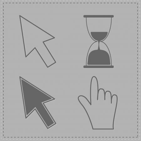 Mouse hand arrows and hourglass. Grey background. Vector Illustration Vector