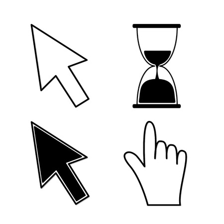 Mouse hand arrows and hourglass. Black color. Vector Illustration Vector