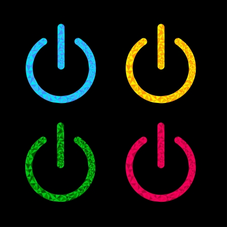 Power button icon set. Black background. Polygonal effect. Vector Illustration Vector