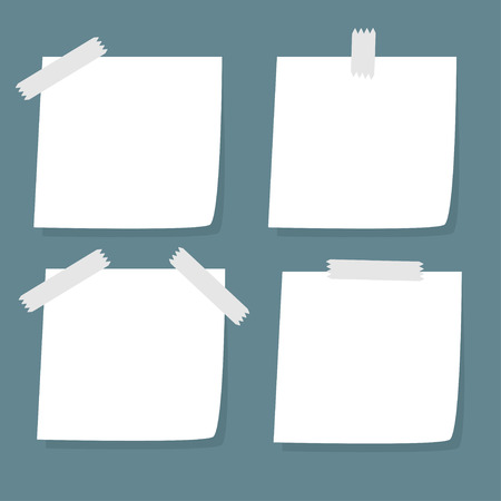 Set of adhesive Notes with tape. Vector Illustration Vector