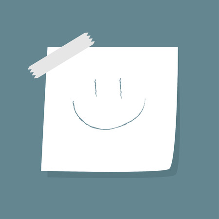 Adhesive Notes with smile  and tape. Vector Illustration Vector