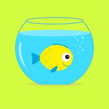 Yellow fish in the aquarium. Card.  Vector illustration Vector