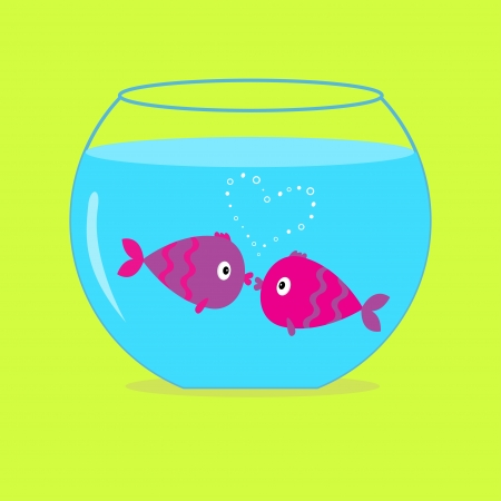 Two kissing fishes in the aquarium. Card. Vector illustration