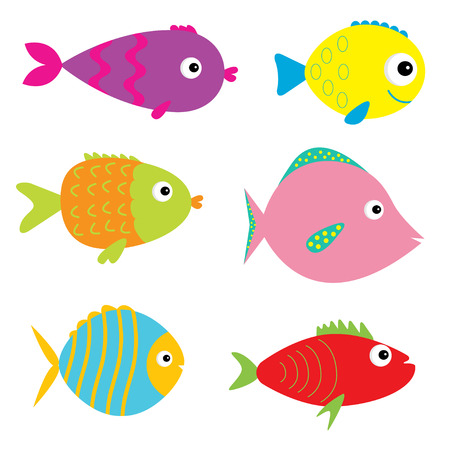 Set of cute cartoon fishes. Isolated. Vector illustration